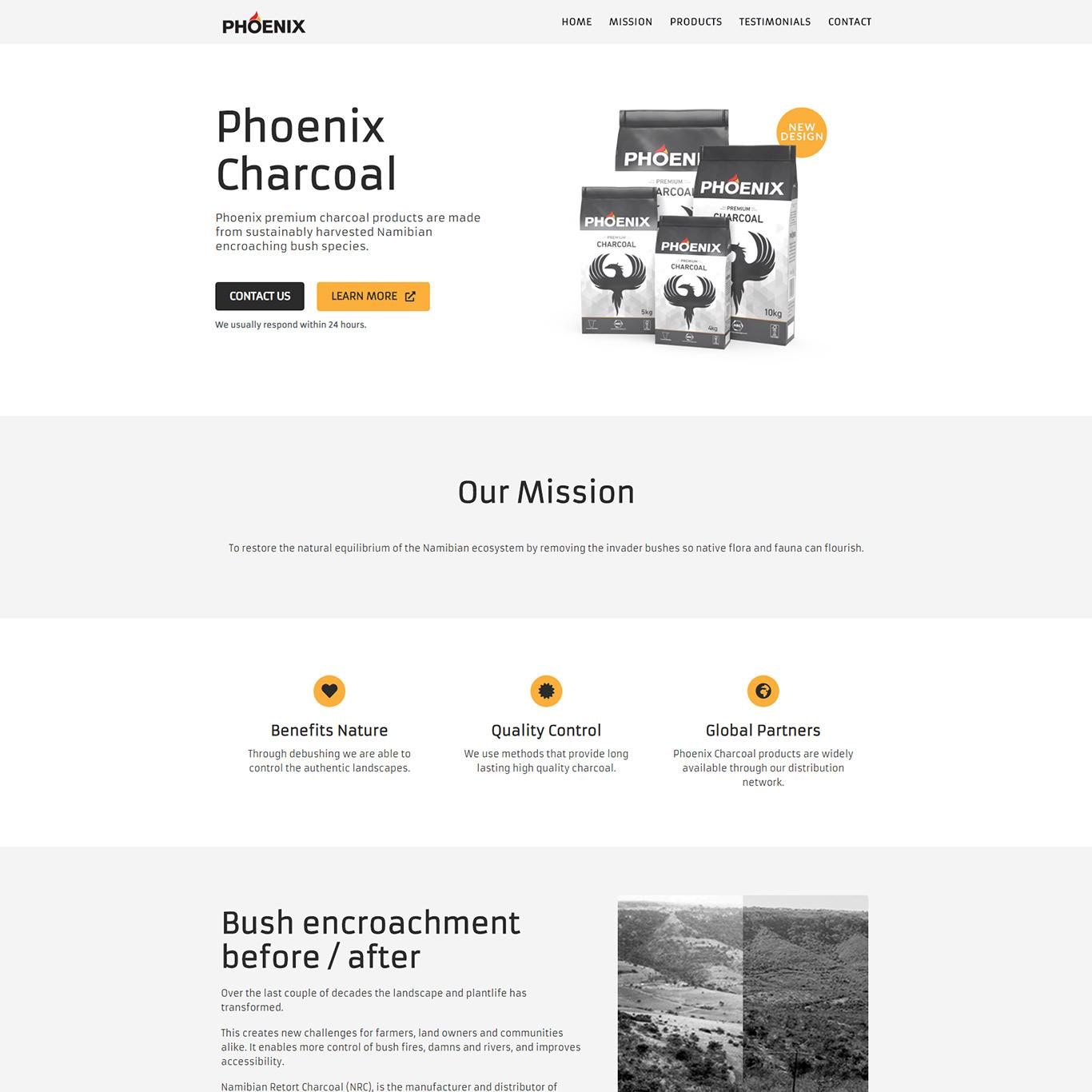 Phoenix Charcoal Desktop homepage