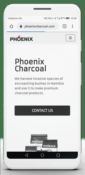 Phoenix Charcoal Mobile Homepage