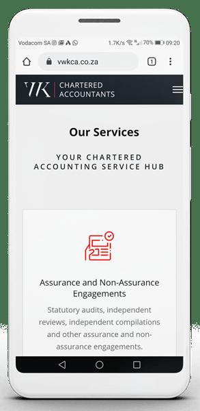 VWK Chartered Accountants mobile homepage
